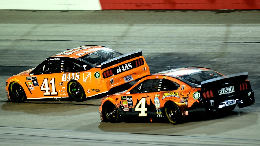 Daniel Suarez, driver of the #41 Haas Automation Ford, leads Kevin Harvick, driver of the #4 Busch Beer/Big Buck Hunter Ford, during the Monster Energy NASCAR Cup Series Bojangles' Southern 500 at Darlington Raceway on Sept. 2, 2019, in Darlington, South Carolina.