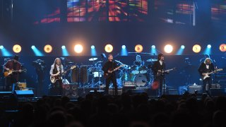 Vince Gill, Timothy B. Schmit, Don Henley, Scott F. Crago, Deacon Frey and Joe Walsh of the Eagles perform at MGM Grand Garden Arena on September 27, 2019 in Las Vegas, Nevada.