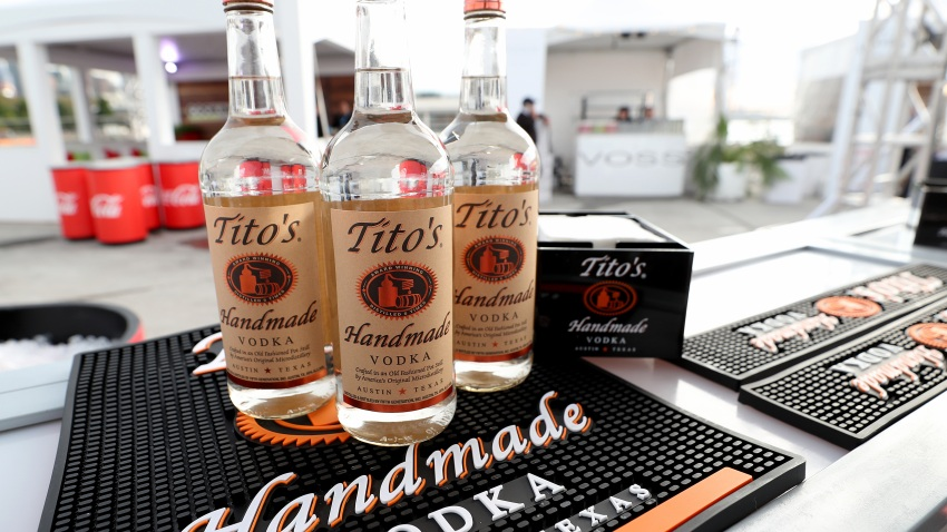 A view of Tito's Vodka on display as Titans of BBQ presented by National Beef and Pat LaFrieda Meats hosted by Dario Cecchini, Pat LaFrieda and Michael Symon at Pier 97 on October 12, 2019 in New York City.