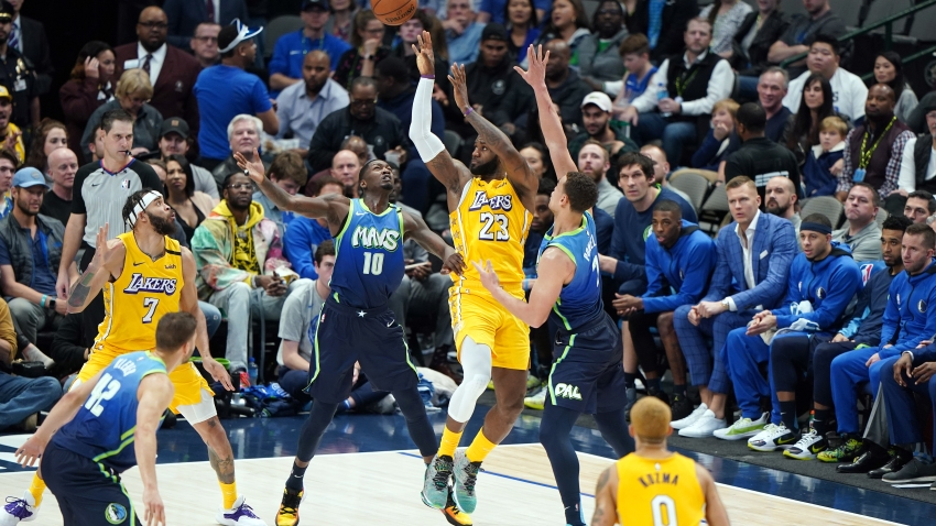 LeBron James #23 of the Los Angeles Lakers passes the ball during the game against the Dallas Mavericks on January 10, 2020 at the American Airlines Center in Dallas.