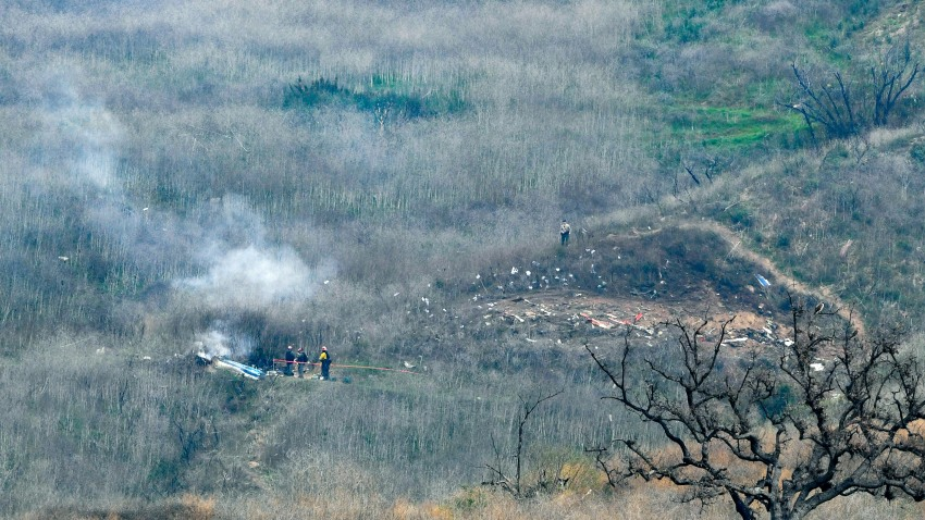 The site of a helicopter crash that claimed the lives of Kobe Bryant, his daughter, Gianna, the pilot, and 6 others, is shown Jan. 26, 2020, in Calabasas, California.