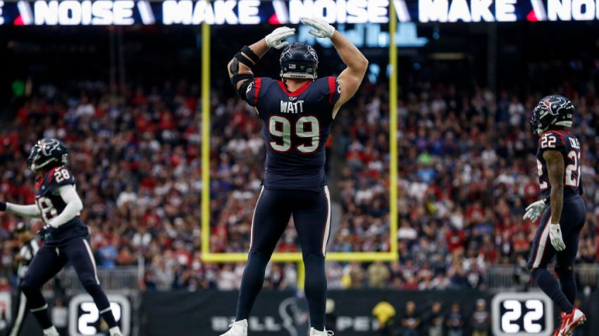 J.J. Watt #99 of the Houston Texans reacts in the first half of the AFC Wild Card Playoff game against the Buffalo Bills at NRG Stadium on January 04, 2020 in Houston, Texas.