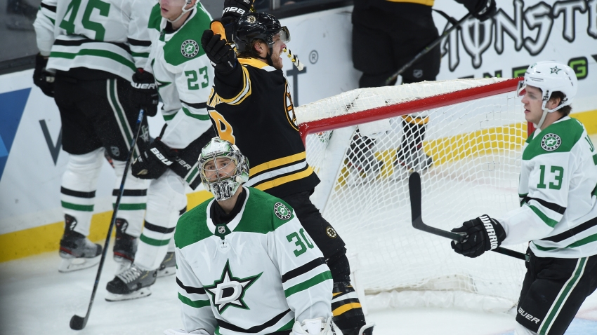 David Pastrnak #88 of the Boston Bruins celebrates a third period goal against the Dallas Stars at the TD Garden on February 27, 2020 in Boston, Massachusetts.