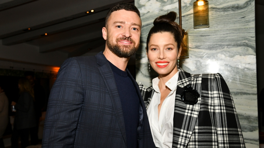 "In this Feb. 3, 2020, file photo, Justin Timberlake and Jessica Biel pose for portrait at the Premiere of USA Network's ""The Sinner"" Season 3 in West Hollywood, California."