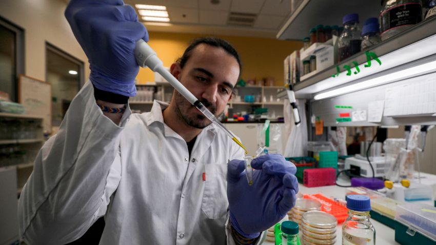 An Israeli scientist works at a laboratory at the MIGAL Research Institute in Kiryat Shmona in the upper Galilee in northern Israel on March 1, 2020