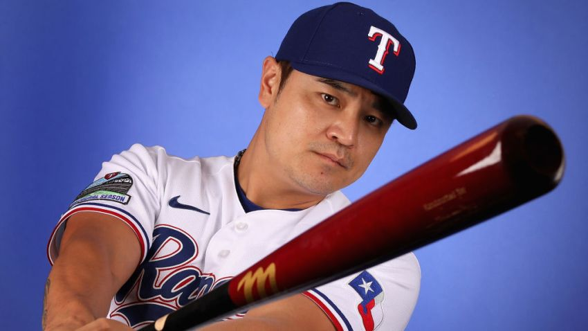 Shin-Soo Choo #17 of the Texas Rangers poses for a portrait during MLB media day on February 19, 2020 in Surprise, Arizona.