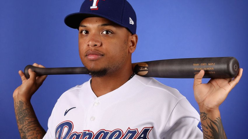 Willie Calhoun #5 of the Texas Rangers poses for a portrait during MLB media day on February 19, 2020 in Surprise, Arizona.