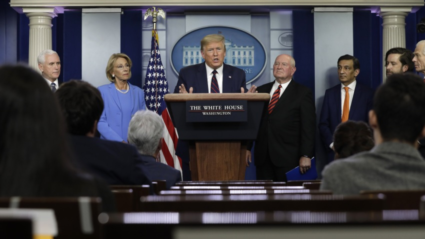 In this file photo, Donald Trump speaks during a coronavirus task force news conference at the White House in Washington, D.C., on Friday, March 27, 2020.