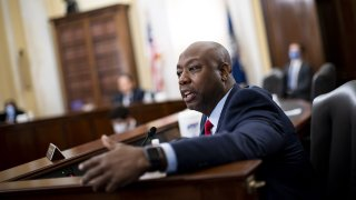 In this June 10, 2020, file photo, Sen. Tim Scott, a Republican from South Carolina, speaks during a Senate Small Business and Entrepreneurship Committee hearing in Washington, D.C.