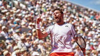 Stan Wawrinka of Switzerland celebrates during his mens singles fourth round match against Stefanos Tsitsipas of Greece during Day eight of the 2019 French Open at Roland Garros on June 02, 2019 in Paris, France.