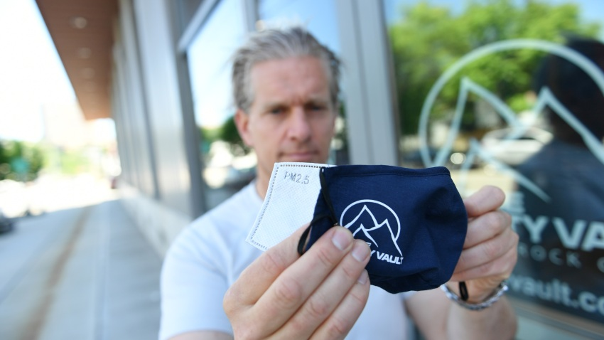Owner/founder of The Gravity Vault, Lucas Kovalcik shows a washable mask that has removable N95 strength filter on June 12, 2020 in Hoboke.