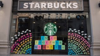 The view of a Starbucks coffee shop displaying pride colors on June 21, 2020 in New York City