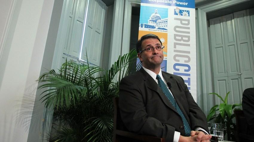 Former lobbyist Jack Abramoff participates in a discussion at Public Citizen on Feb. 6, 2012, in Washington, DC.