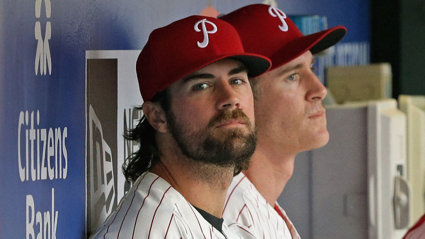 Cole Hamels in Dugout