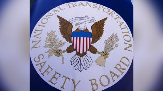 The NTSB logo is seen during a safety event for children in 2015.