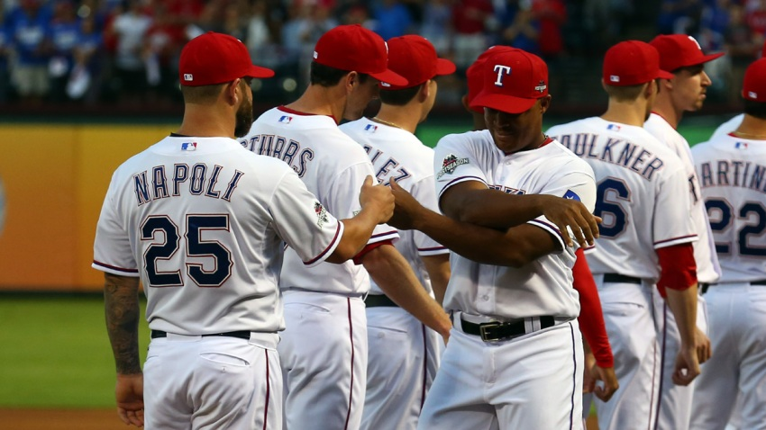 Beltre Stretches Arm Intros