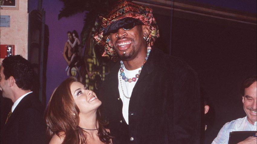 Carmen Electra and Dennis Rodman.