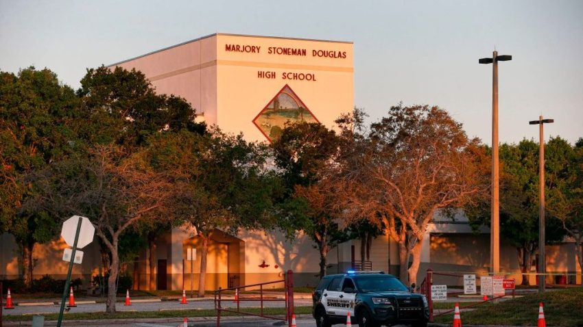 The exterior of Marjory Stoneman Douglas High School in Parkland, Florida.