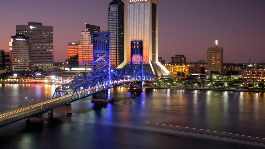 Jacksonville, Florida, skyline at night.