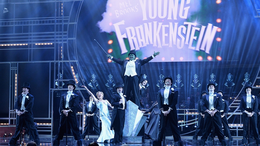 The cast of Young Frankenstein perform