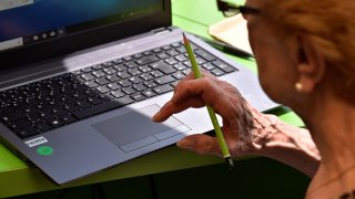 Elderly Person on Computer