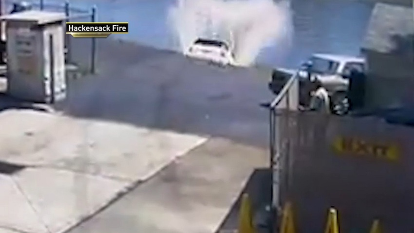 Hackensack Fire Video Car into River