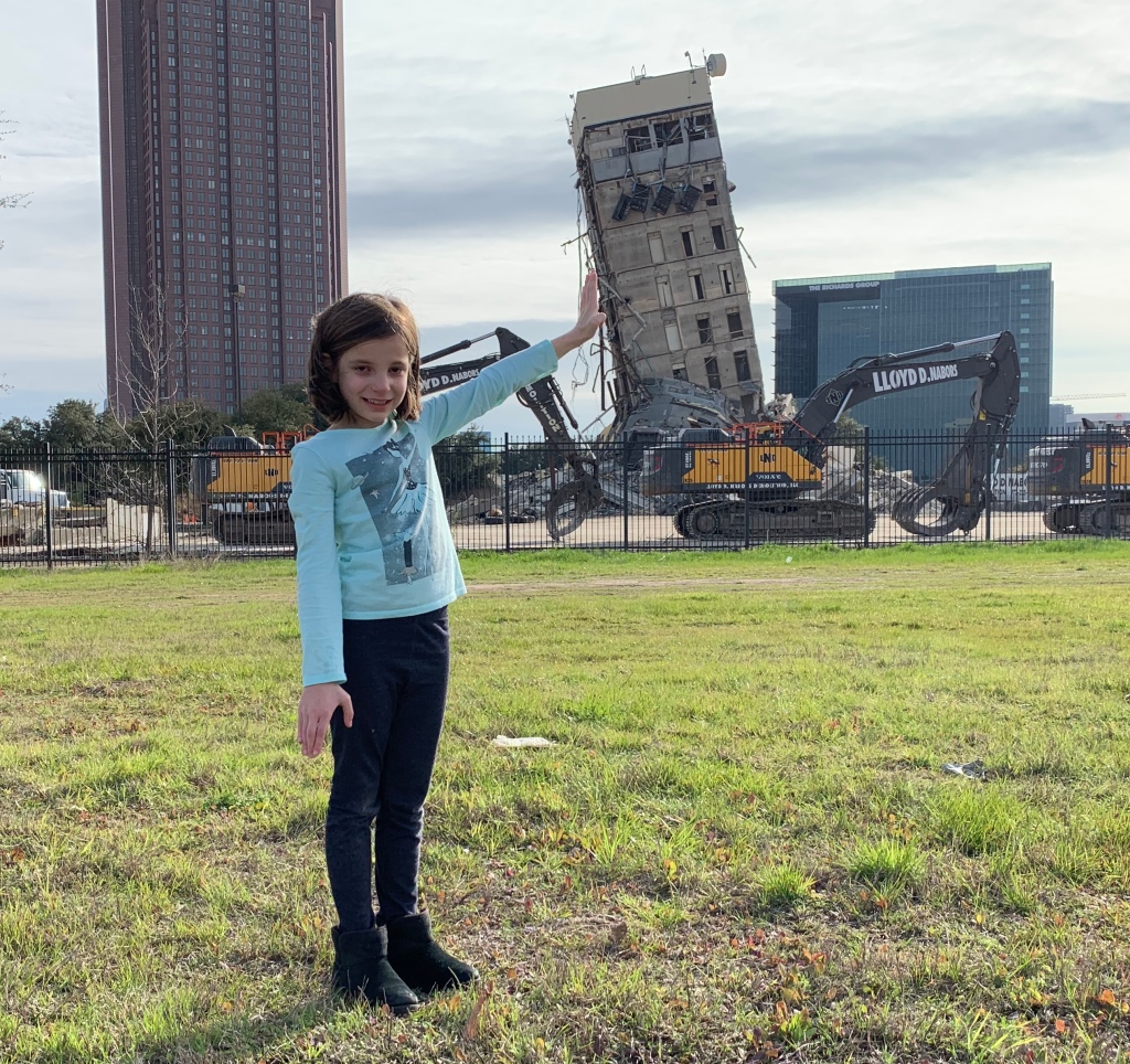Halley, age 7, was excited to get a chance to see Dallas' own Leaning Tower after hearing about the implosion gone wrong on the radio and the news. Who needs a trip to Italy when you can take a family day in the big city?!?