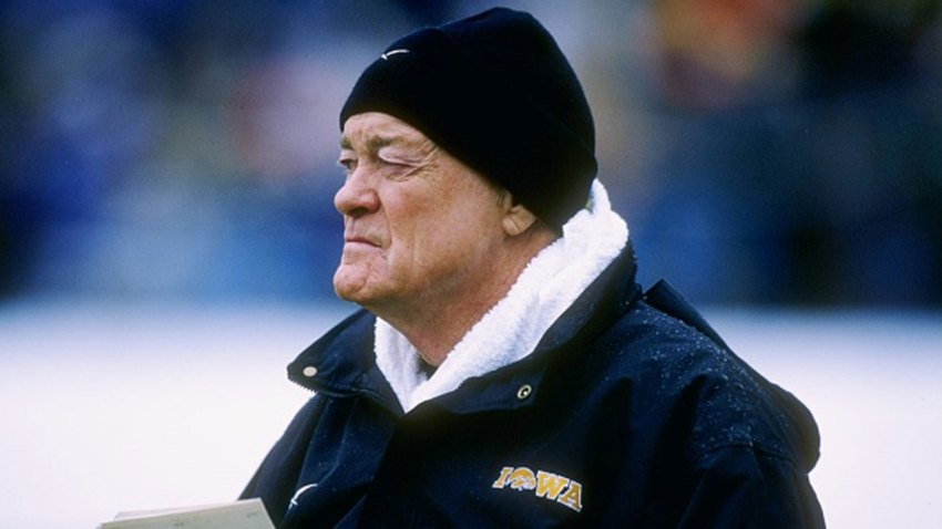 Head coach Hayden Fry of the University of Iowa during the Hawkeyes 15-14 loss to Northwestern at Ryan Field in Evanston, Illinois on Nov. 15, 1997.