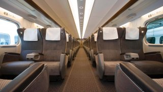 A rendering shows what the inside of the high speed train from Dallas to Houston will look like.