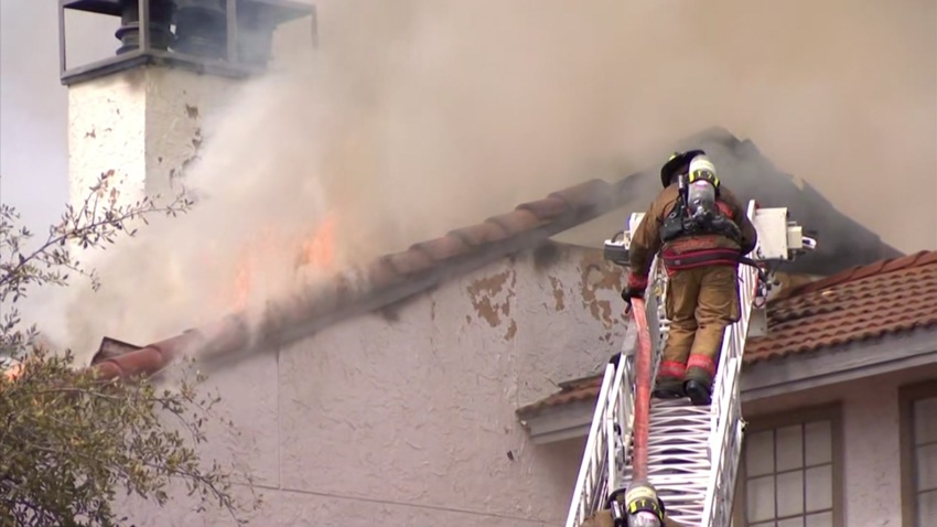 A three-alarm fire was reported just before 11:30 a.m. at the complex in the 1200 block of Meadow Creek Drive.