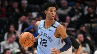 Ja Morant #12 of the Memphis Grizzlies handles the ball during a game against the Dallas Mavericks on Feb. 5, 2020 at the American Airlines Center in Dallas, Texas.