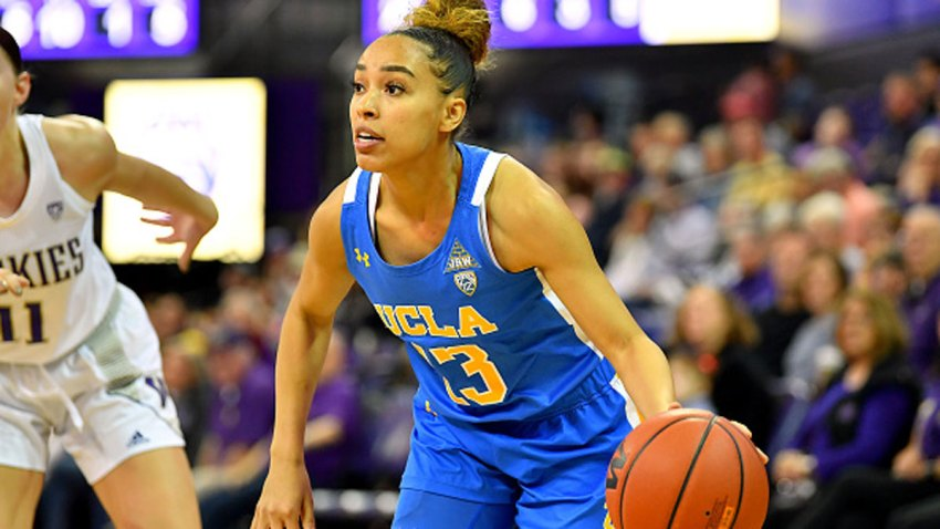 Jaden Owens #13 of the UCLA Bruins controls the ball during the first half of the game against the Washington Huskies at Alaska Airlines Arena on February 23, 2020 in Seattle, Washington. The Washington Huskies topped the UCLA Bruins, 74-68.