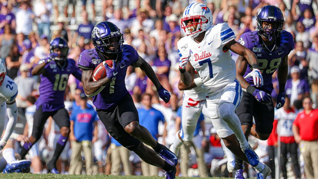 TCU Horned Frogs wide receiver Jalen Reagor (1) is chased by Southern Methodist Mustangs cornerback Robert Hayes Jr. (7) during the game between the TCU Horned Frogs and SMU Mustangs on September 21, 2019 at Amon G. Carter Stadium in Fort Worth, Texas.