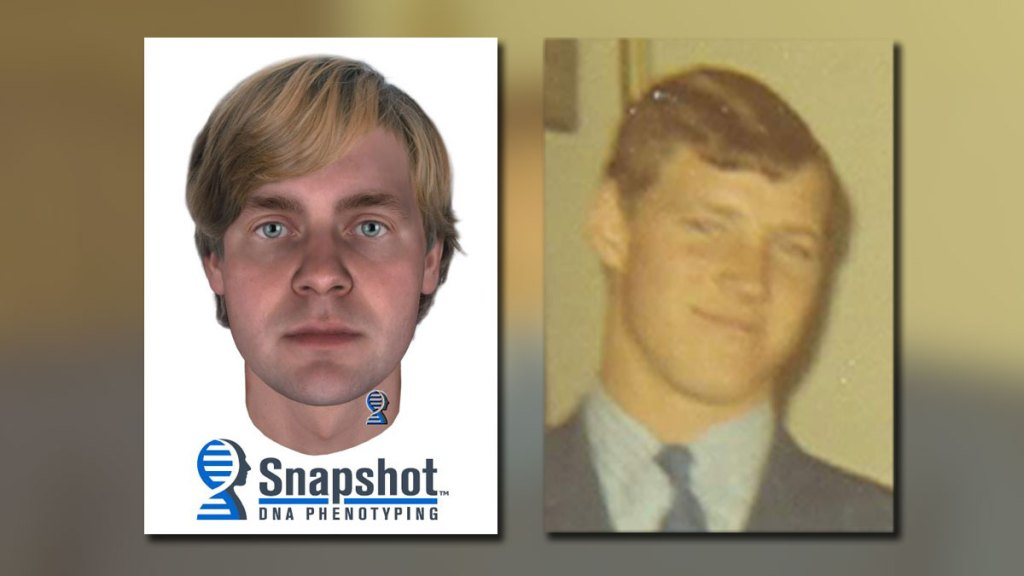 Comparison of DNA Phenotyping composite of what Julie Fuller's killer may have looked like, next to photo of James Francis McNichols at around the same age. Police say he killed Julie Fuller.