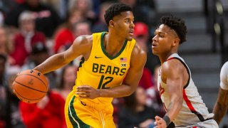 Guard Jared Butler #12 of the Baylor Bears handles the ball against guard Terrence Shannon #1 of the Texas Tech Red Raiders during the first half of the college basketball game on Jan. 7, 2020 at United Supermarkets Arena in Lubbock, Texas.