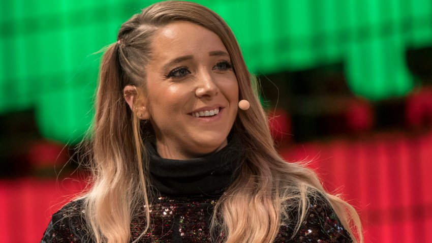 """In this Nov. 9, 2017, file photo, YouTube star Jenna Marbles attends a discussion about """"Cult of personality"""" during the final day of the Web Summit in Altice Arena in Lisbon, Portugal."""