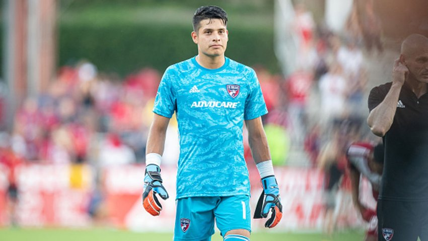 FC Dallas goalkeeper Jesse Gonzalez (#1) walks off the field during the MLS soccer game between FC Dallas and Toronto FC on June 22, 2019, at Toyota Stadium in Frisco, Texas.