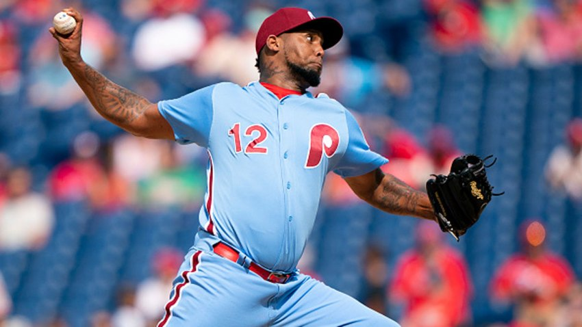 Juan Nicasio #12 of the Philadelphia Phillies throws a pitch in the top of the ninth inning against the San Francisco Giants at Citizens Bank Park on Aug. 1, 2019 in Philadelphia, Pennsylvania.