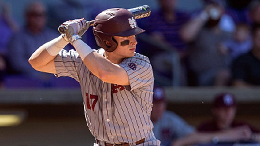 Mississippi State Bulldogs infielder Justin Foscue (17) bats during a baseball game between the Mississippi State Bulldogs and the LSU Tigers on March 31, 2018 at Alex Box Stadium in Baton Rouge, Louisiana.
