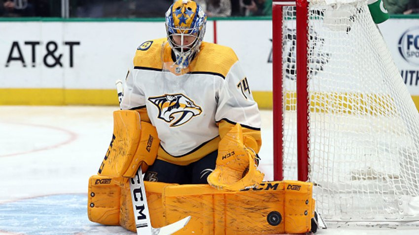 Juuse Saros #74 of the Nashville Predators makes a pad save against the Dallas Stars in the first period at American Airlines Center on March 7, 2020 in Dallas, Texas.