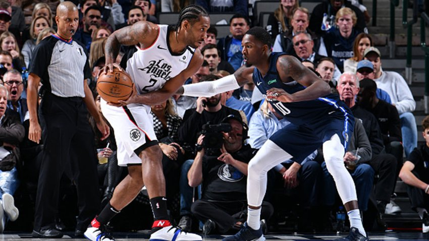Kawhi Leonard #2 of the LA Clippers handles the ball against the Dallas Mavericks on Jan. 21, 2020 at the American Airlines Center in Dallas, Texas.