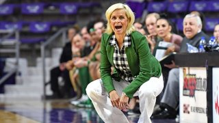 Head coach Kim Mulkey of the Baylor Lady Bears calls out instructions to her players during the third quarter against the Kansas State Wildcats on Feb. 8, 2020 at Bramlage Coliseum in Manhattan, Kansas.