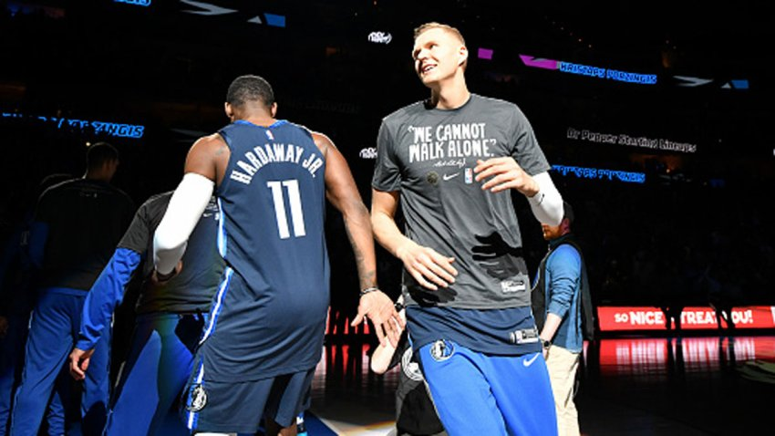 Kristaps Porzingis #6 of the Dallas Mavericks is announced before the game against the LA Clippers on Jan. 21, 2020 at the American Airlines Center in Dallas, Texas.