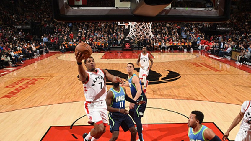 Kyle Lowry #7 of the Toronto Raptors drives to the basket against the Dallas Mavericks on Dec. 22, 2019 at the Scotiabank Arena in Toronto, Ontario, Canada.