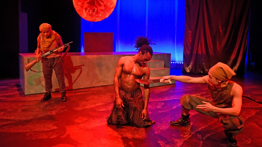 """(L-R) Kristen D'sha, McClendon """"Mickey Giles,"""" Christopher Lew in Mlima's Tale at Second Thought Theatre."""