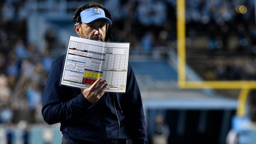 Head coach Larry Fedora of the North Carolina Tar Heels watches his team play against the Western Carolina Catamounts during the second half of their game at Kenan Stadium on Nov. 17, 2018 in Chapel Hill, North Carolina.