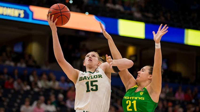 Baylor forward Lauren Cox (15) attempts a layup against Oregon forward Erin Boley (21) in 2019 NCAA Women's National Semifinal Game One between the Oregon Ducks and the Baylor Bears at at Amelie Arena in Tampa, Florida on on April 5, 2019.