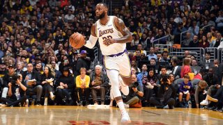 LeBron James #23 of the Los Angeles Lakers handles the ball during the game against the Dallas Mavericks on Dec. 29, 2019 at STAPLES Center in Los Angeles, California.
