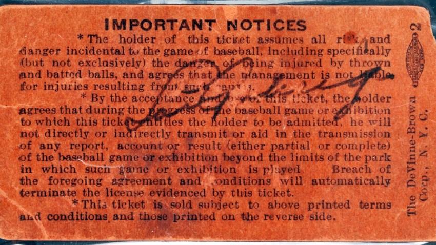 Lou Gehrig Ticket Stub