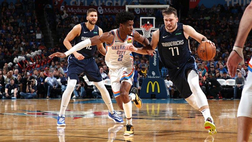 Luka Doncic #77 of the Dallas Mavericks handles the ball against the Oklahoma City Thunder on Jan. 27, 2020 at Chesapeake Energy Arena in Oklahoma City, Oklahoma.